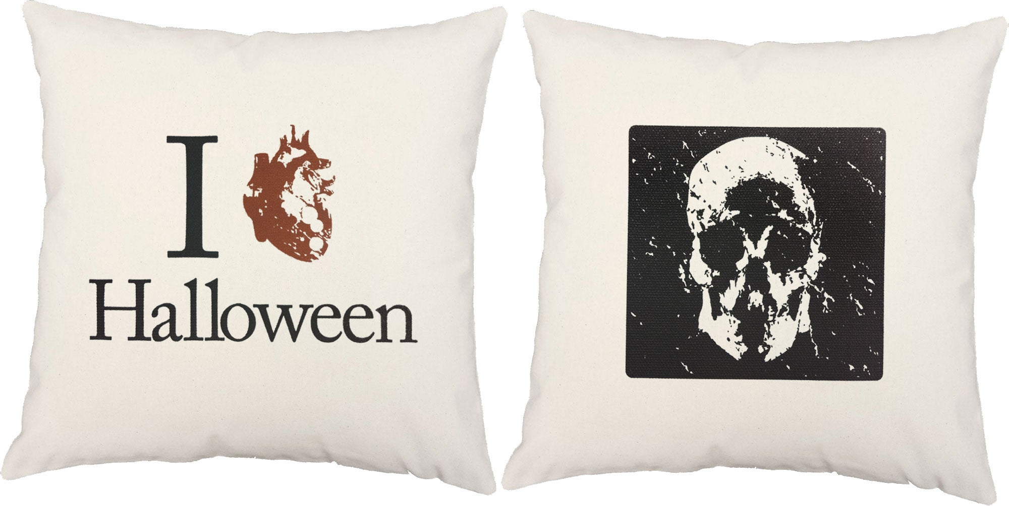 halloween pillows - scary skull skeleton square throw pillows