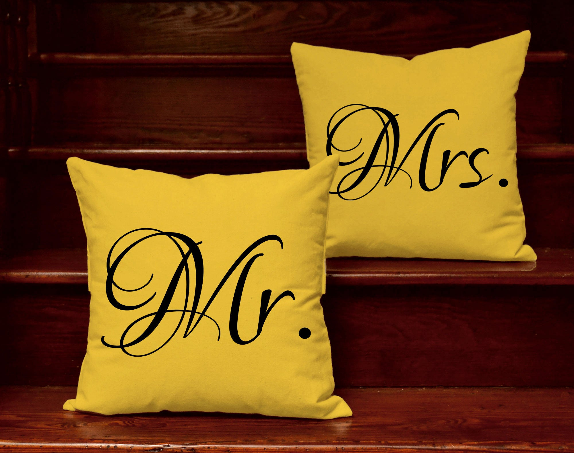 Mr Mrs Square Pillows His Hers Couples Throw Pillows