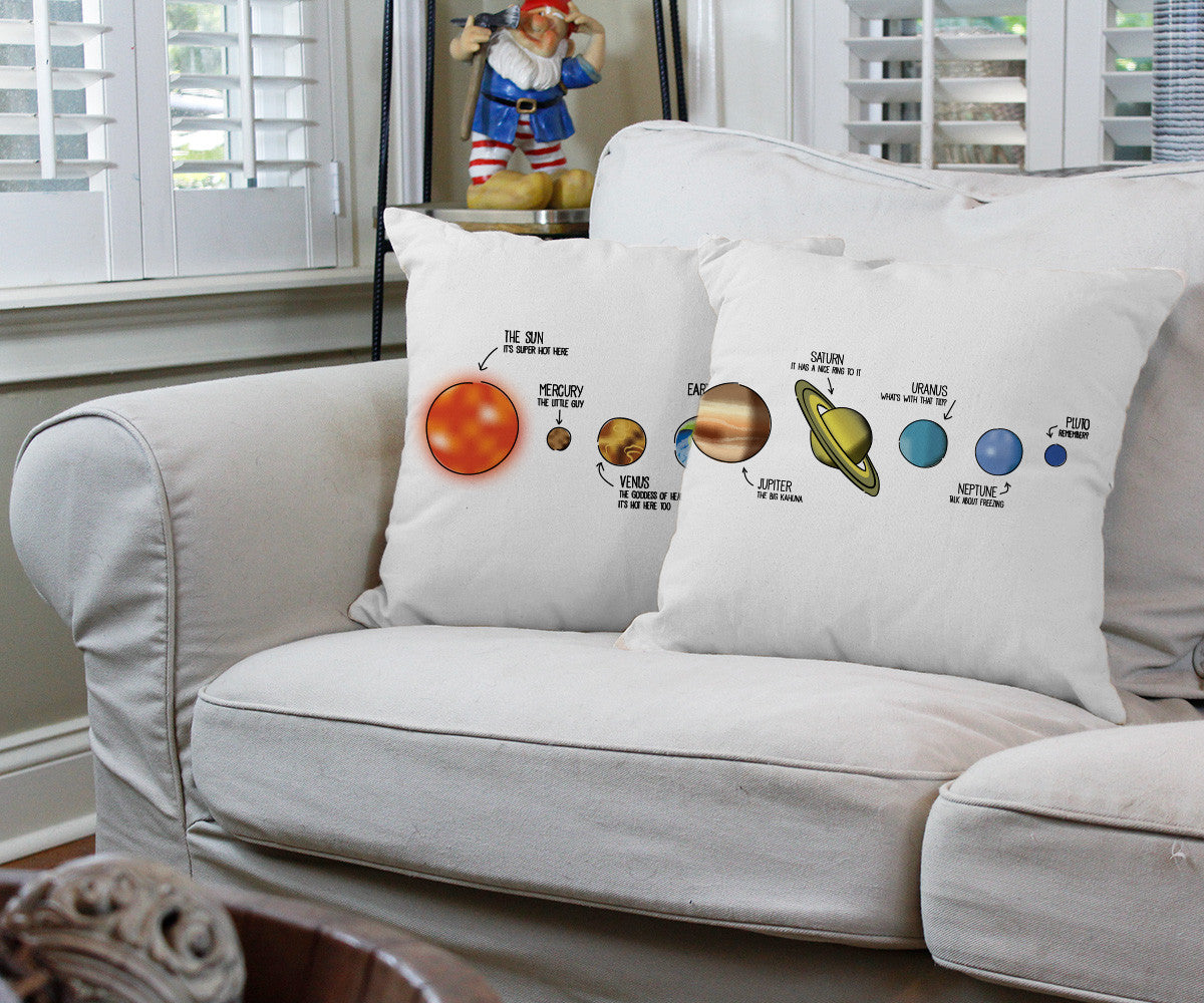 Outer Space Square Pillows - Solar System Planets Throw Pillows ...