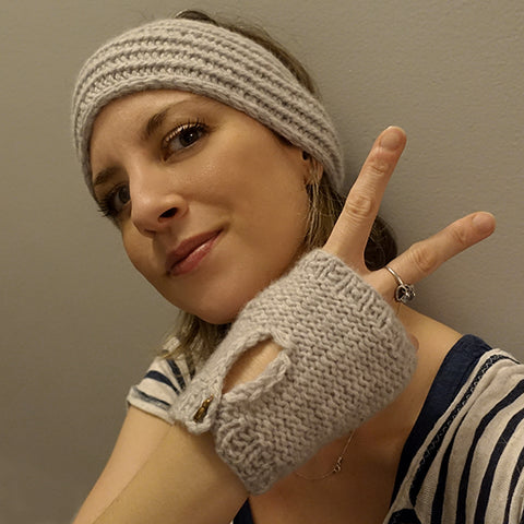 Cashmere headband and fingerless glove set