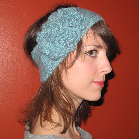flower headband {knitting pattern}-knitting pattern-The Crafty Jackalope