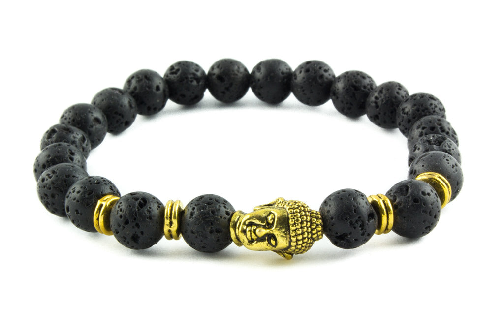 Black Lava & Gold Energy Buddha Bracelet