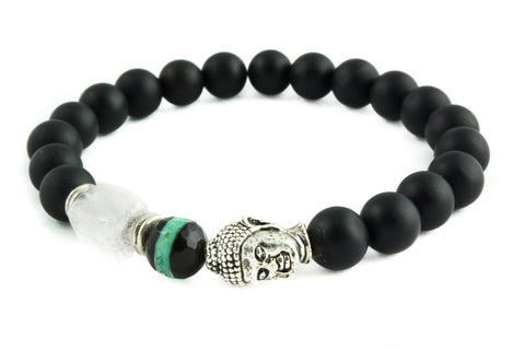 Matte Black Agate Beads & Silver Buddha Bracelets with Pink Crystal