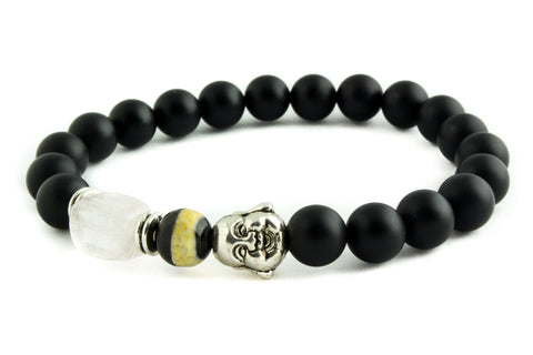 Black Matte Agate Stone Beads Laughing Buddha