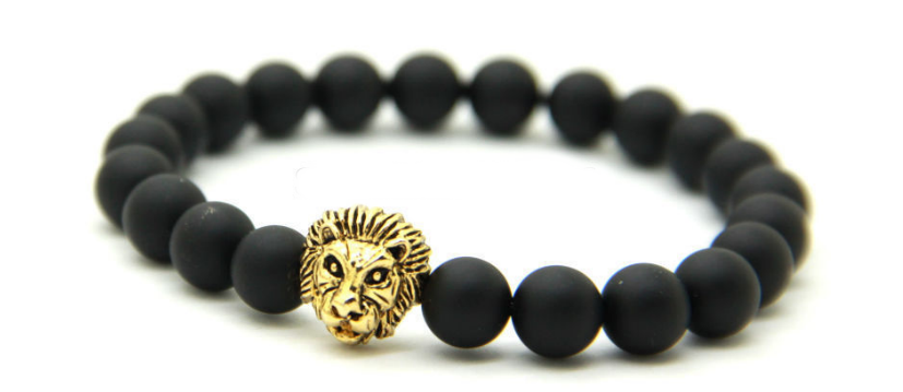 Matte Black & Gold Lion Bracelet