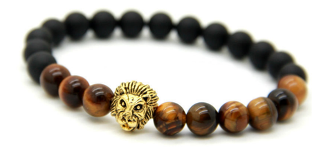 Black & Natural Brown with Gold Lion Bracelet *1 DAY SALE*