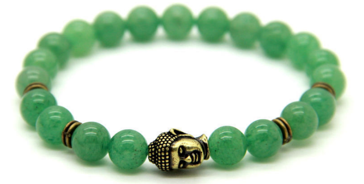 Natural Aventurine & Antique Bronze Buddha Bracelet *1 Day Sale!*