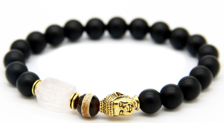 Matte Black Agate Beads & Gold Buddha Bracelet with Pink Crystal