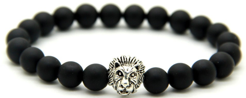 Matte Black  & Silver Lion Head Bracelet *1 Day SALE*