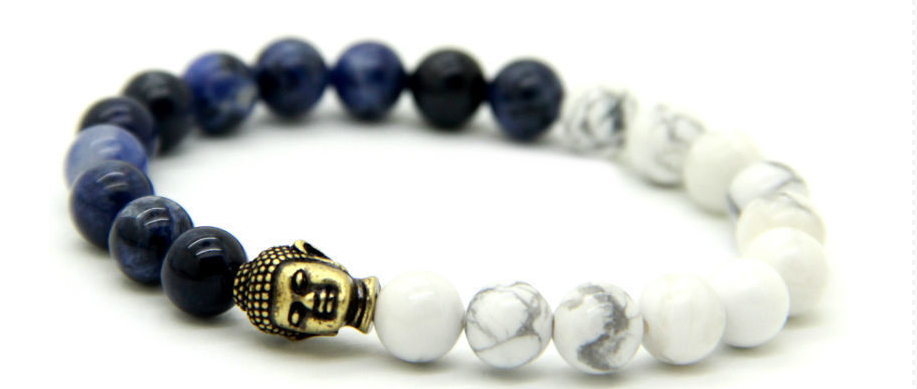 Natural White & Blue Veins Stone with Bronze Buddha Bracelet