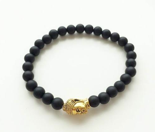 6mm Smooth Matte Black & Gold Buddha Bracelet *1 Day SALE*