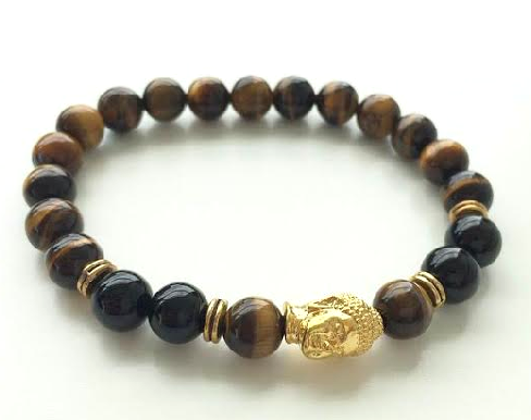 Caramel Brown & Gold Buddha bracelet