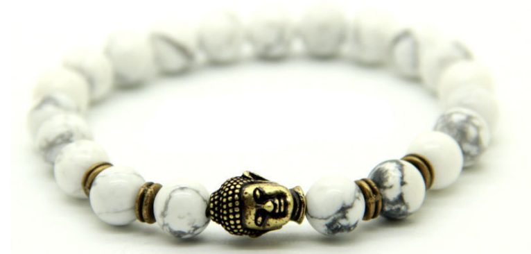 Natural White Howlite Stone & Antique Bronze Buddha Bracelet