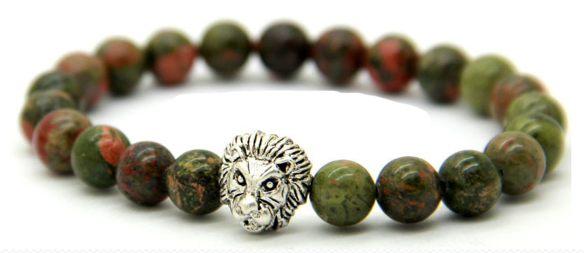 Unakite Stone Beads Antique & Silver Lion