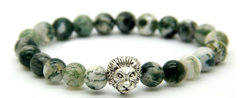 Natural Tree Grain Stone & Silver Lion Head *1 DAY SALE*