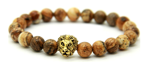 Natural Jasper Wooden Stone & Gold Lion head