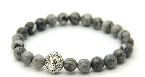Grey Marble & Silver Lion Bracelet *1 Day Sale!*