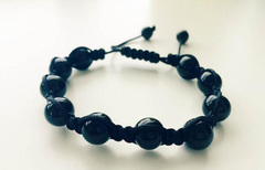10mm Black Agate Shamballa Adjstable Bracelet