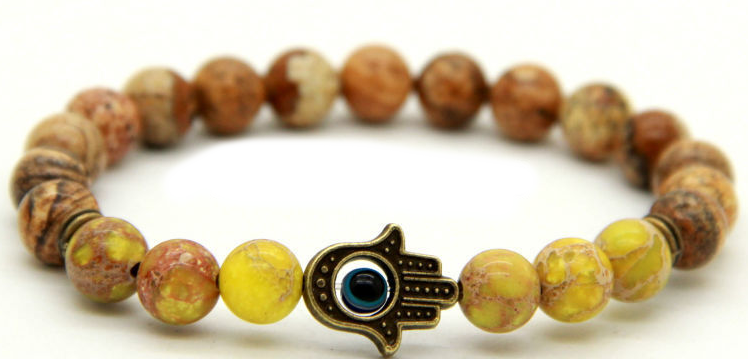 Jasper Cool Blue Breeze Yellow Hamsa Bracelet