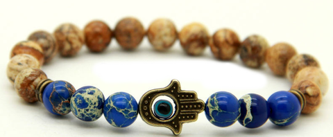 Jasper Cool Blue Breeze Blue Hamsa Bracelet