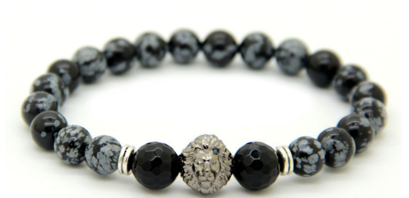 Grey & Black Marbled Lion Bracelet