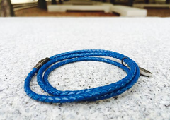 Premium Blue Triple Wrap Leather Bracelet