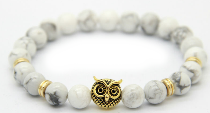 White Marble Gold Alpha Owl Bracelet Alpha Accessories