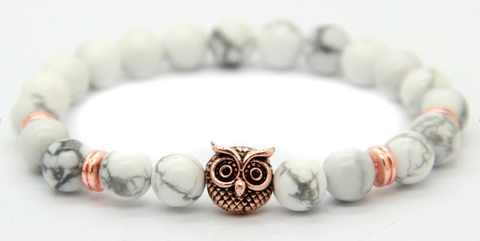 White Marble & Rose Gold Alpha Owl Bracelet