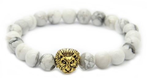 White Howlite Stone Beads & Gold Lion *1 Day Sale!*