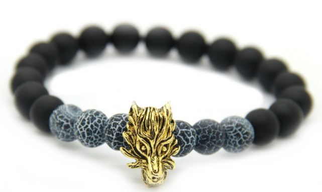 Matte Black & Frost Vein Alpha Dragon Bracelet