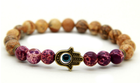 Purple Jasper Hamsa Hand Bracelet *1 Day Sale*