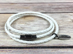 Premium White Triple Wrap Leather Bracelet