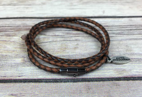 Premium Black & Brown Triple Wrap Leather Bracelet
