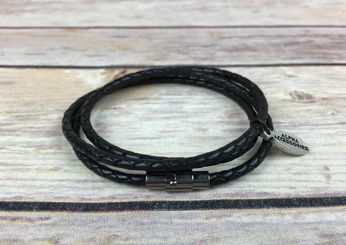 Premium Black Triple Wrap Leather Bracelet