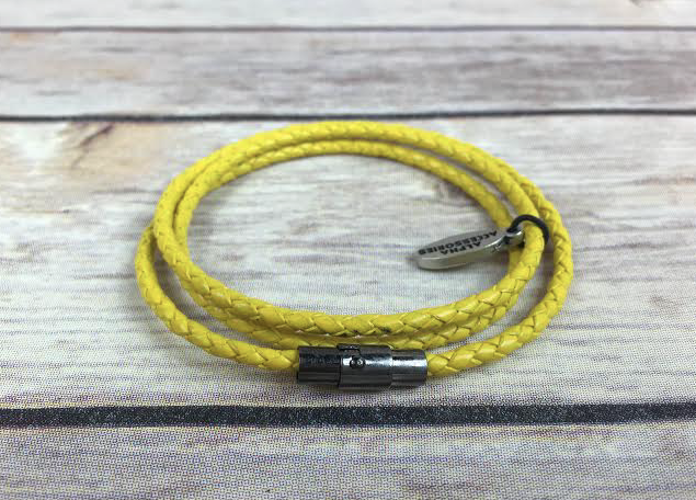Premium Yellow Triple Wrap Leather Bracelet