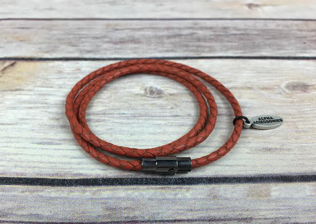 Orange Triple Wrap Leather Bracelet *New Item Sale!*