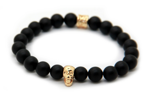 Matte Black & Gold Skull Bracelet *1 Day Sale!*