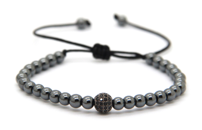 Space Black 4mm CZ adjustable Bracelet