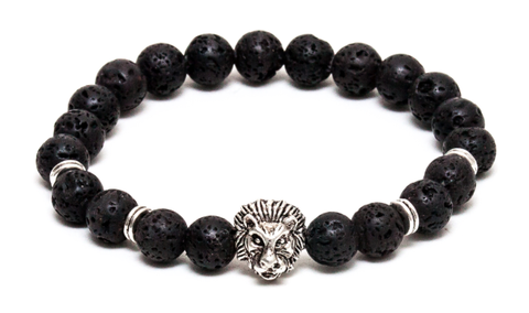 Black Lava & Silver Lion Head Bracelet *1 Day Sale!*