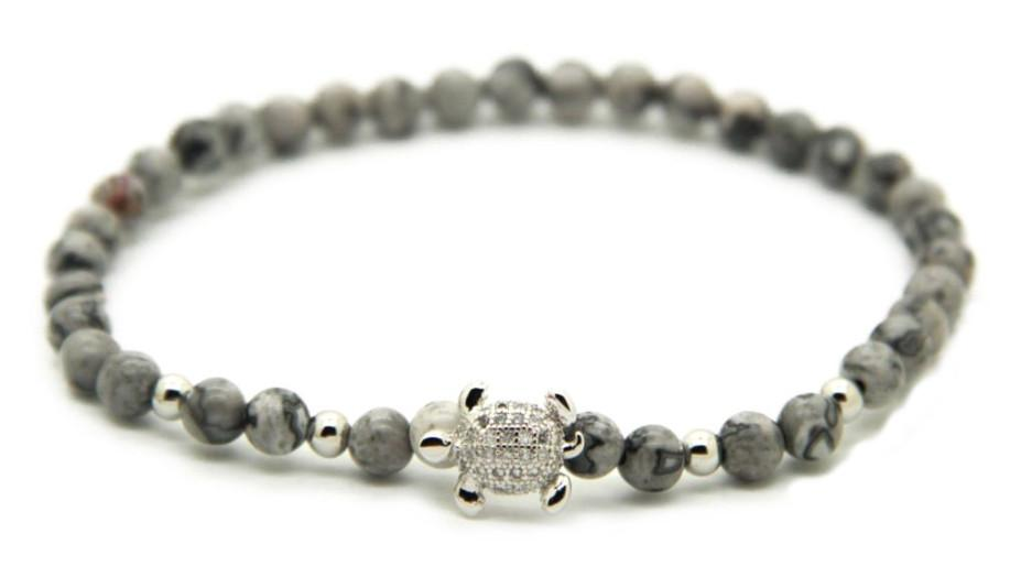 Grey & Silver Good Luck Turtle Bracelet