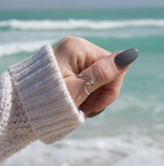 Dainty Silver Wave Ring