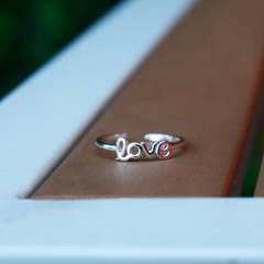 Silver love letter ring