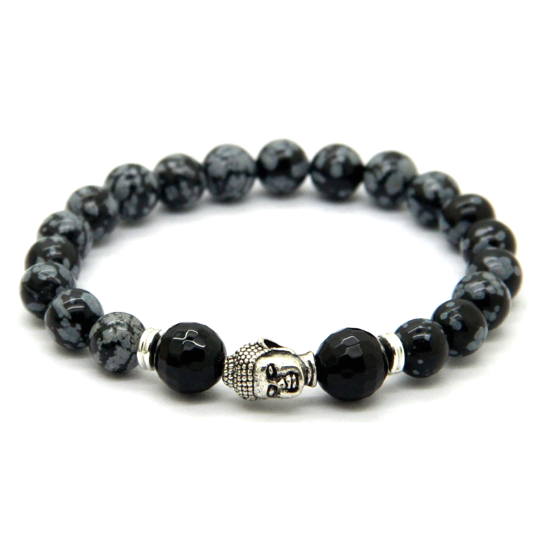 Black & Grey Marble Buddha Bracelet *1 Day Sale!*