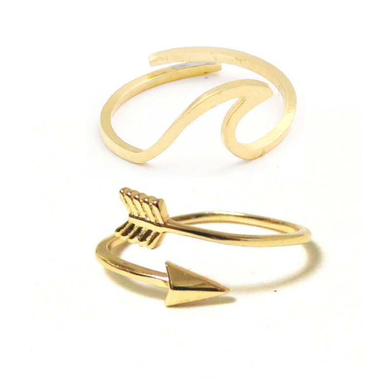 Gold Arrow & Wave ring bundle set