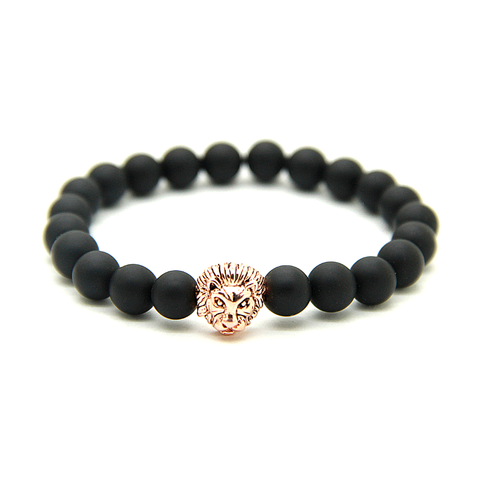 Matte Black & Rose Gold Lion Bracelet