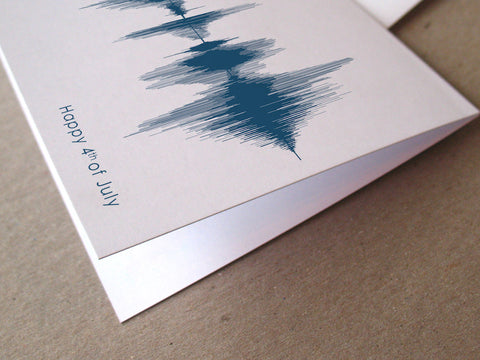 Happy Fourth of July Sound Wave Audio Greeting Card