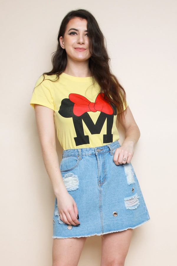 Yellow 'M' Slogan T-shirt - Miss Vanilla