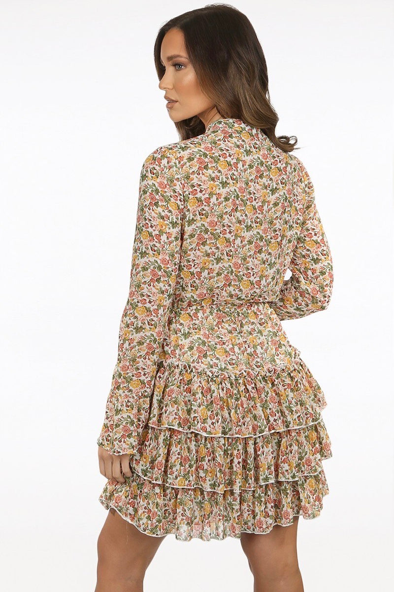 Contrast Floral Tier Dress