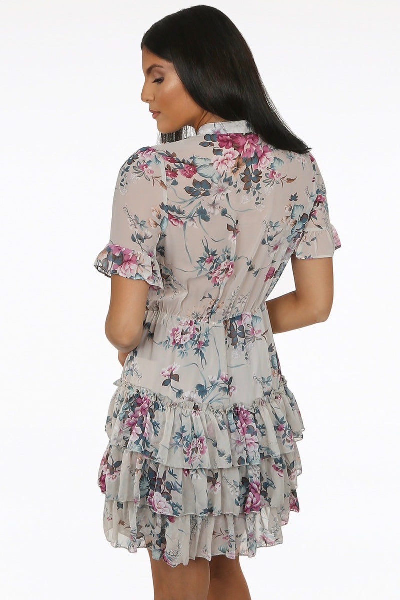 Floral Tie Neck Dress