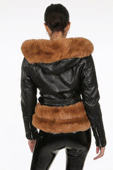 Fur Trim Biker Jacket